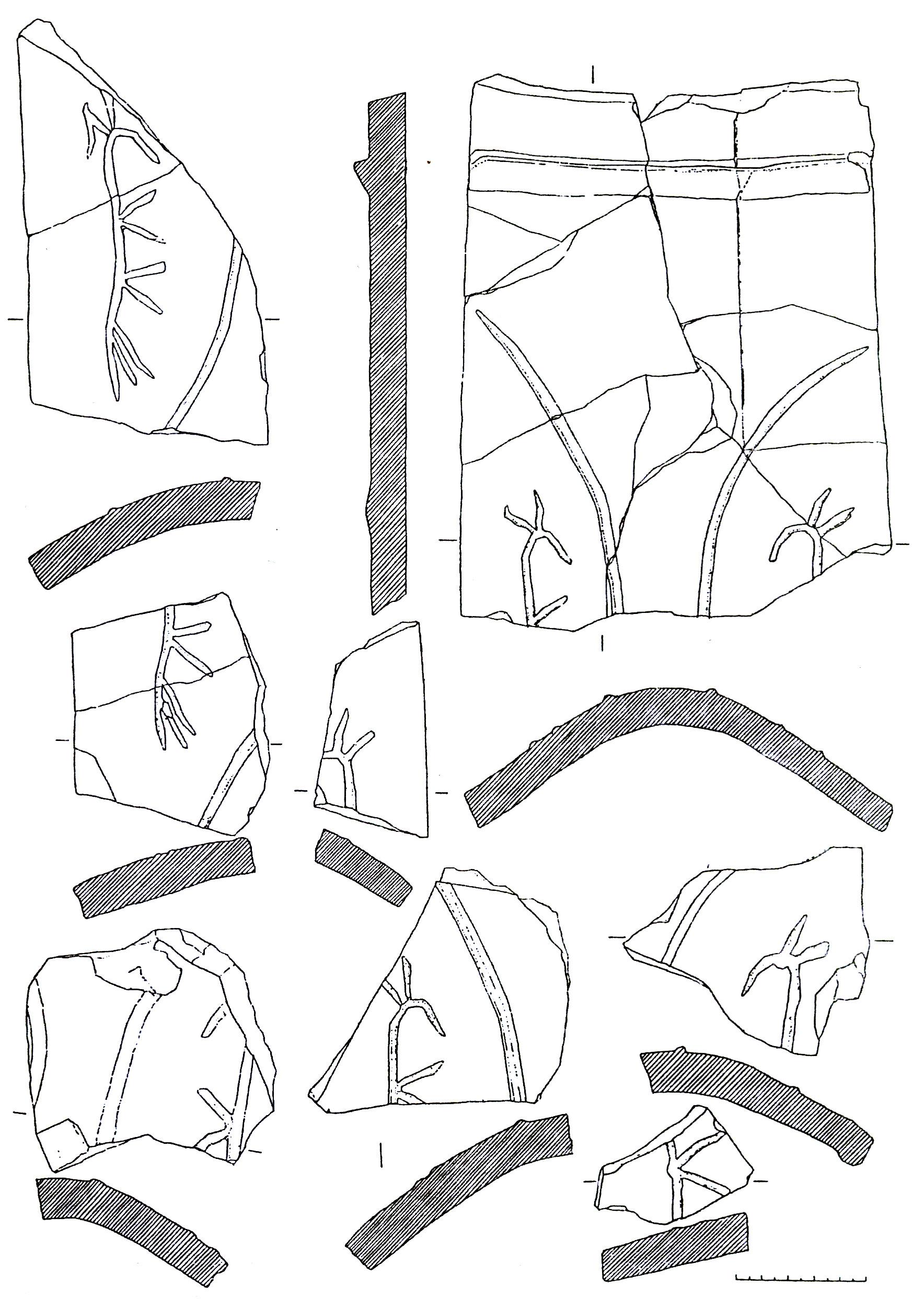 Рис. 5. Калиптеры с метками в виде стилизованных изображений лошади или осла из раскопок храма на северо-восточном склоне Аю-Дага (п. 26).