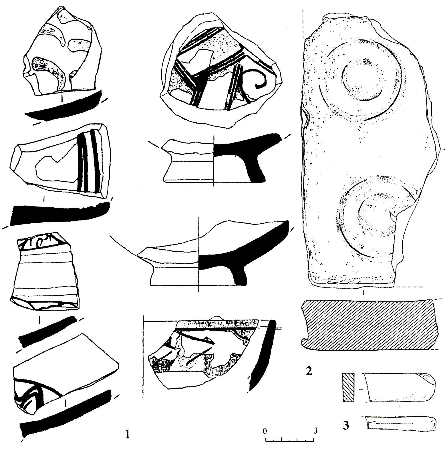 Рис. 7. Фрагменты поливных сосудов XIII-XV вв. (1), поливной плитки (2) и оселка (3), найденные у храма на мысе Аю-Даг (п. 29).