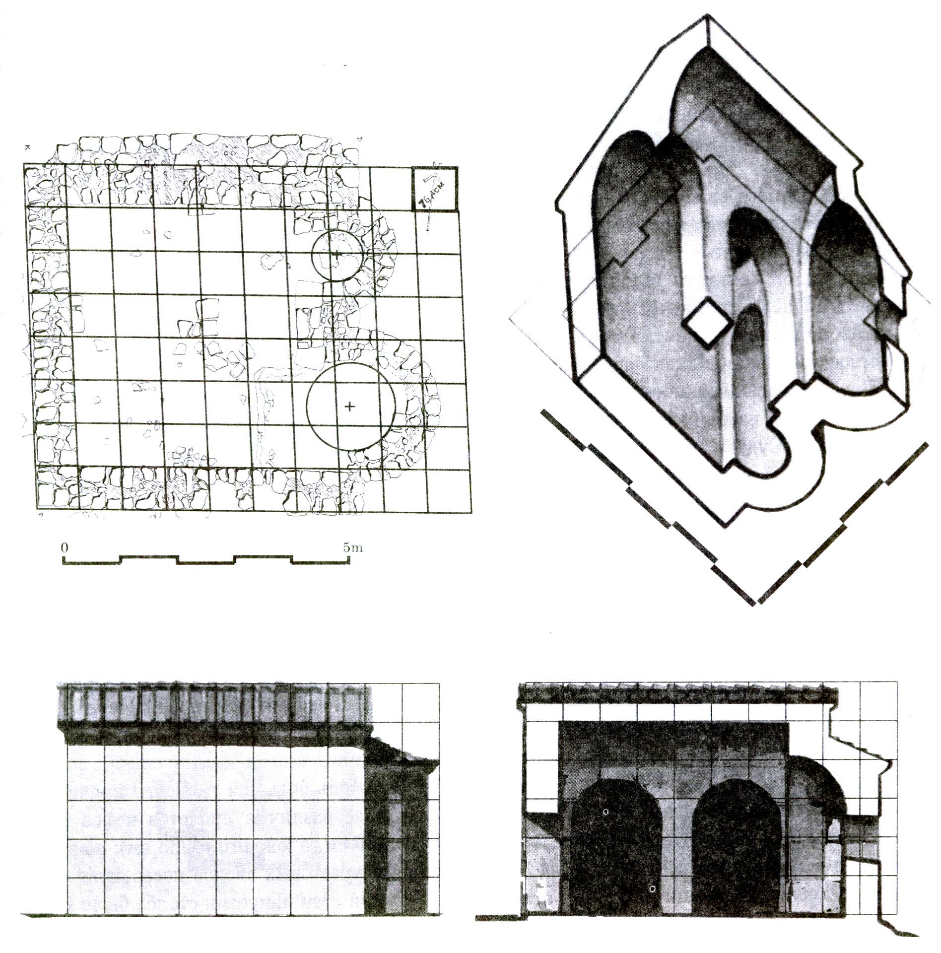 Рис. 1. Храм в Сотере. 1 — пропорциональный аналих храма; 2 — реконструкция; аксонометрический разрез; 4 — южный фасад и поперечный разрез.