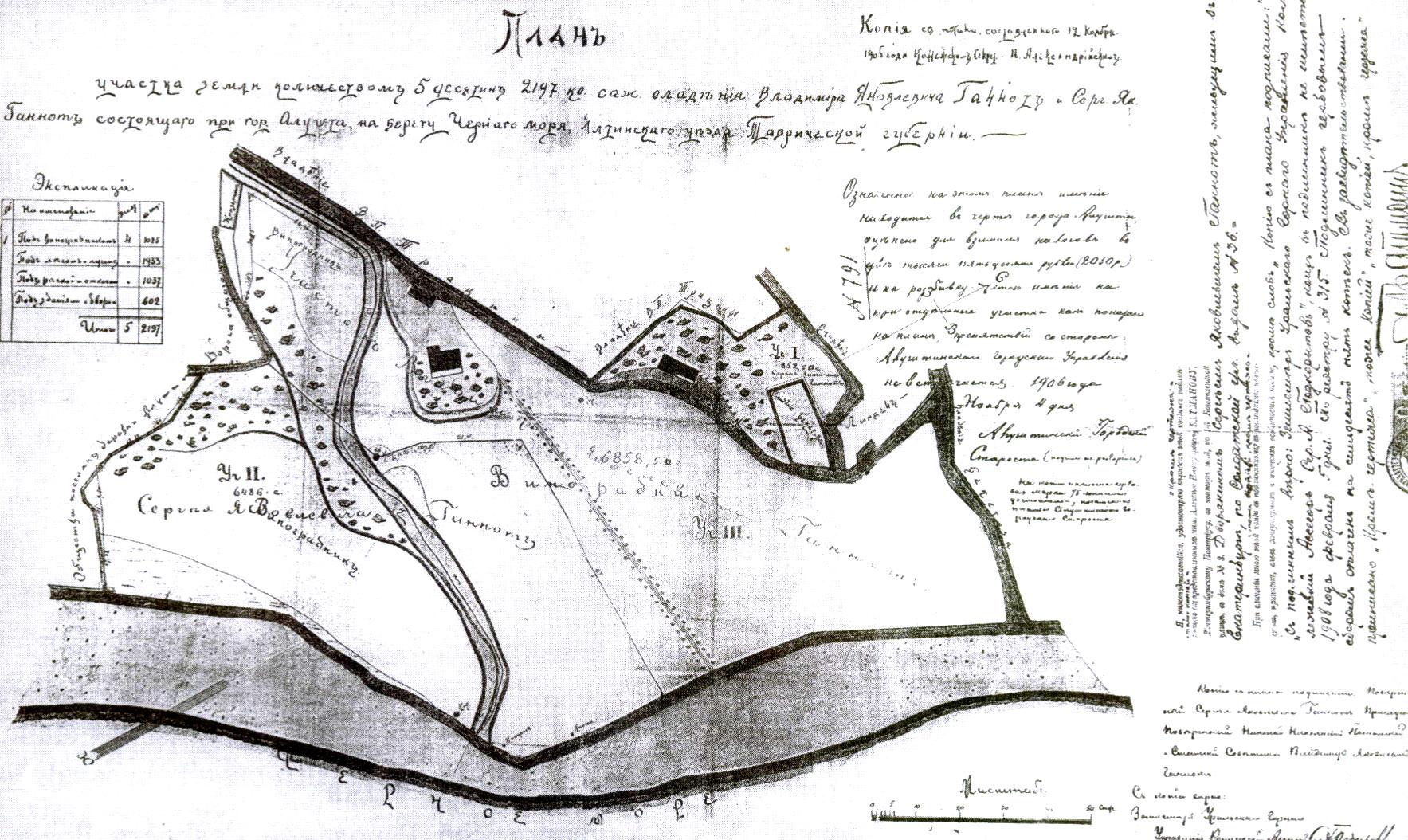 Копия с плана земельных участков Е.Я. и С.Я. Ганнот, составленного в 1905 г.