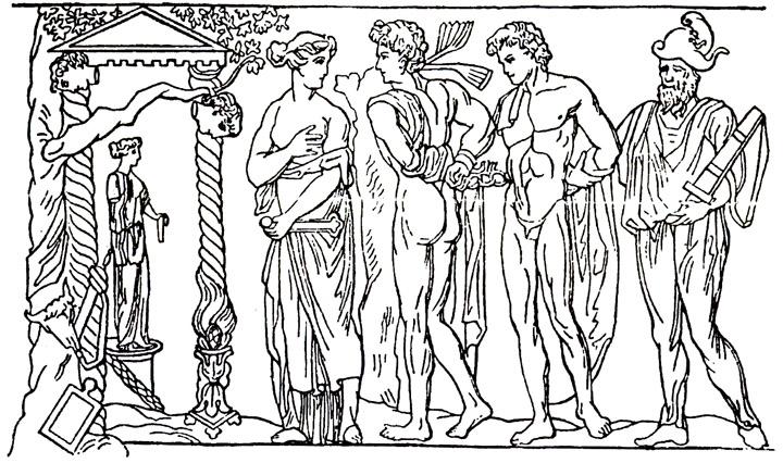 Ифигения ведет Ореста и Пилада в храм Артемиды (барельеф II в. н. э.)