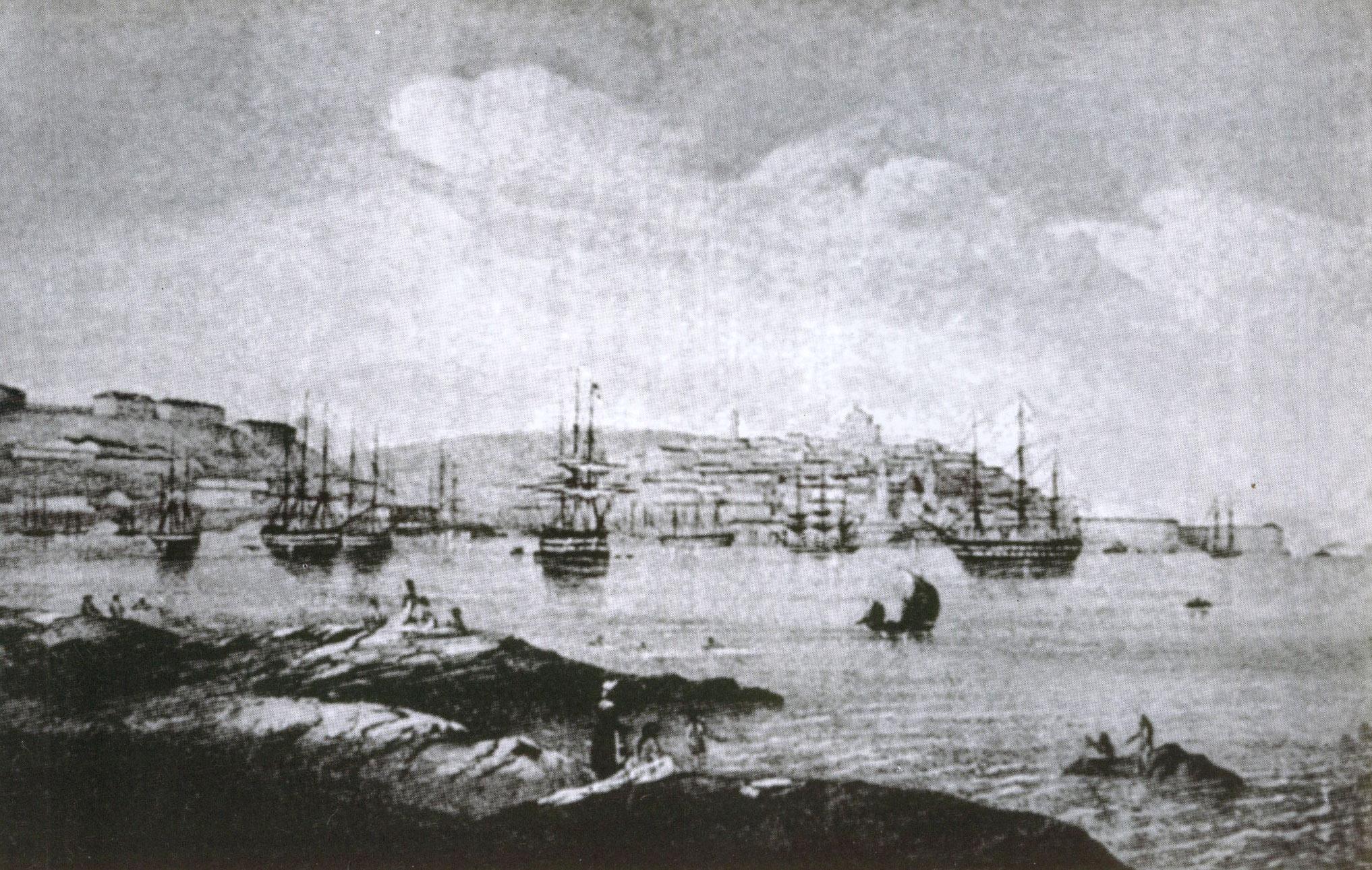 Вид Севастополя перед крымской войной. С рис. англ. офицера, из коллекции М.И. Кази