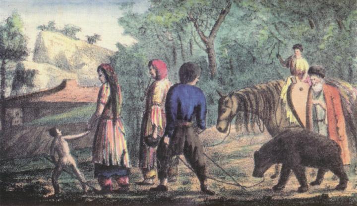 """Рис. №3. """"Странствующие цыгане"""". Яворский, с картины Гросса. Литография А. Брауна."""