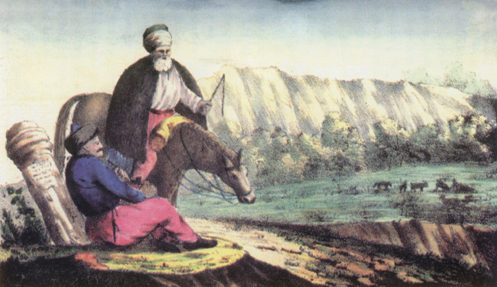 """Рис. №4. """"Странствующий татарин"""". Яворский, с картины Айвазовского. Литография А. Брауна."""