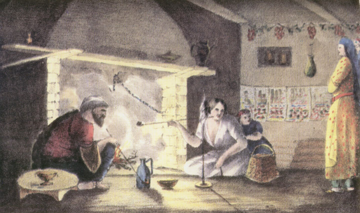 """Рис. №5. """"Интерьер татарского дома"""". Яворский, с картины Гросса. Литография А. Брауна."""