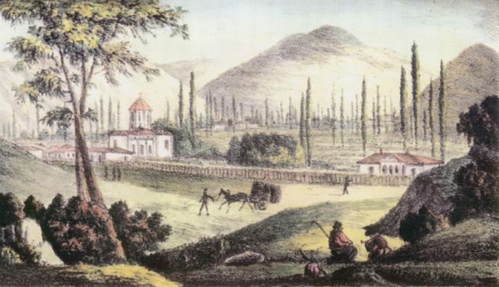 "Рис. №18. ""Судакская долина"". А. Фадзарди, с натуры. Боккачини, на камне. Литография А. Брауна."