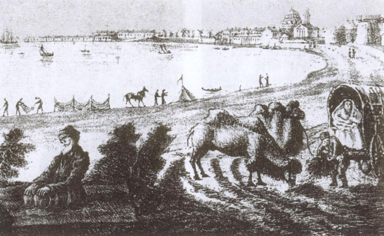 Татарская семья, сделавшая привал на подъезде к Гезлёву. Вдали видны купола ханской мечети. Литография