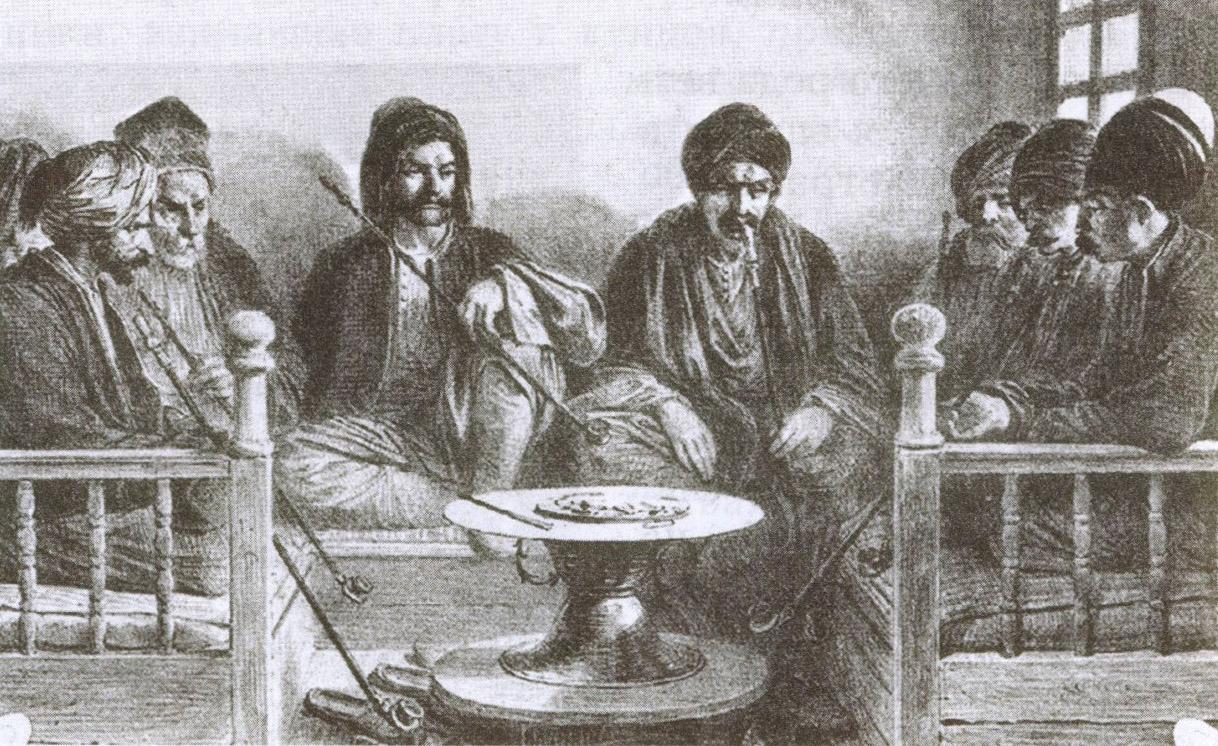 Турецкий кофе был одним из самых популярных напитков в Гезлёве. С литографии О. Раффе