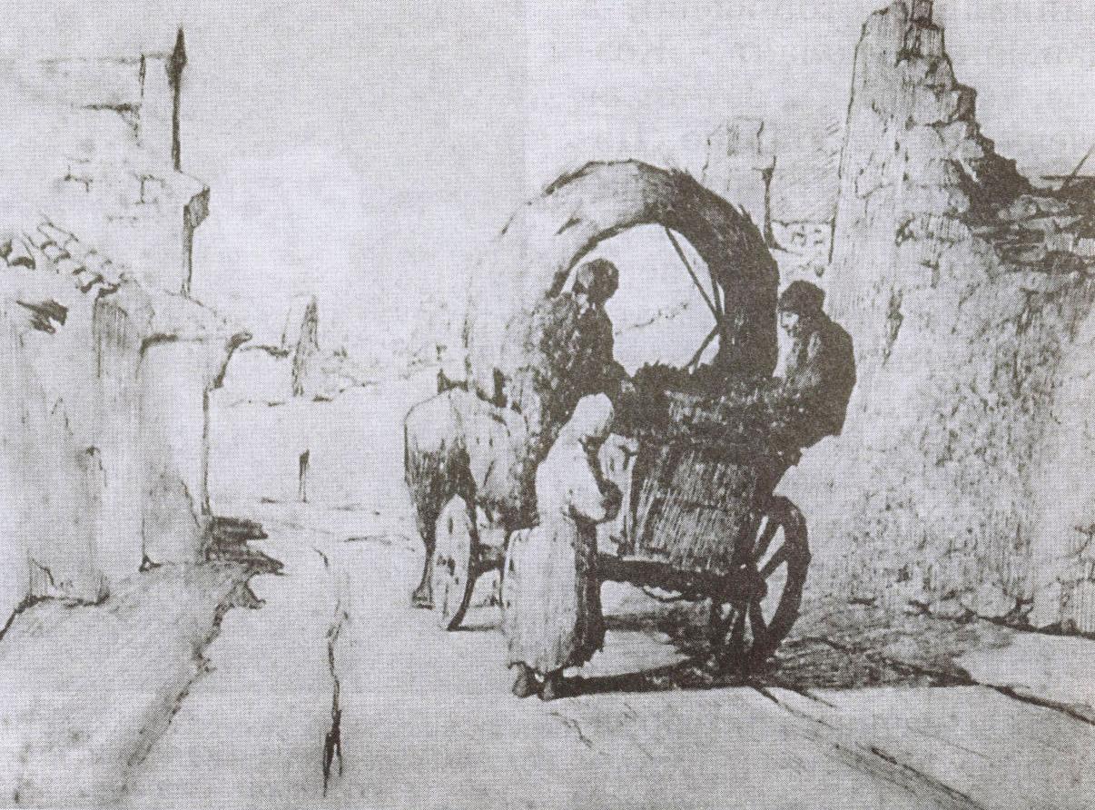 Татарская арба — самый популярный в Гезлёве вид транспорта. Рисунок из экспозиции Краеведческого музея