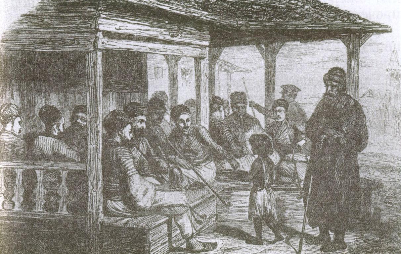 В татарской кофейне. Литография О. Раффе