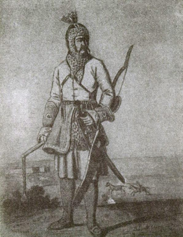 Татарский воин. Рисунок из экспозиции Краеведческого музея