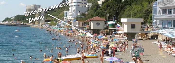 """Расположение пляжа пансионата """"Днепр"""""""